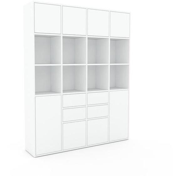 Aktenschrank Weiß - Büroschrank: Schubladen in Weiß & Türen in Weiß - Hochwertige Materialien - 156 x 195 x 35 cm, Modular