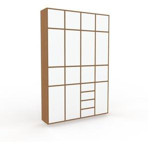 Aktenschrank Eiche - Büroschrank: Schubladen in Weiß & Türen in Weiß - Hochwertige Materialien - 156 x 239 x 35 cm, Modular