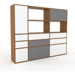 Aktenschrank Eiche - Büroschrank: Schubladen in Weiß & Türen in Grau - Hochwertige Materialien - 190 x 157 x 35 cm, Modular