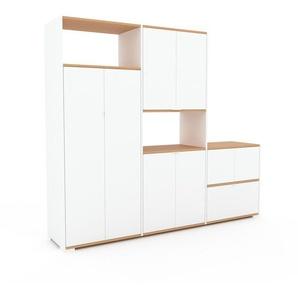 Aktenschrank Weiß - Büroschrank: Schubladen in Weiß & Türen in Weiß - Hochwertige Materialien - 226 x 196 x 47 cm, Modular