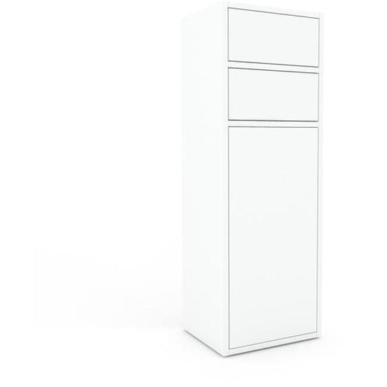 Aktenschrank Weiß - Büroschrank: Schubladen in Weiß & Türen in Weiß - Hochwertige Materialien - 41 x 118 x 35 cm, Modular