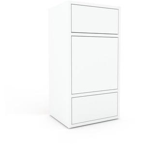 Aktenschrank Weiß - Büroschrank: Schubladen in Weiß & Türen in Weiß - Hochwertige Materialien - 41 x 80 x 35 cm, Modular