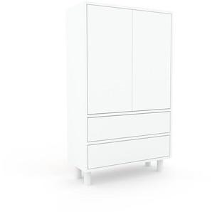Aktenschrank Weiß - Büroschrank: Schubladen in Weiß & Türen in Weiß - Hochwertige Materialien - 77 x 130 x 35 cm, Modular