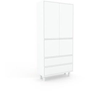 Aktenschrank Weiß - Büroschrank: Schubladen in Weiß & Türen in Weiß - Hochwertige Materialien - 77 x 168 x 35 cm, Modular