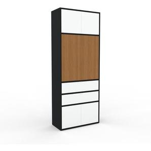 Aktenschrank Schwarz - Büroschrank: Schubladen in Weiß & Türen in Weiß - Hochwertige Materialien - 77 x 195 x 35 cm, Modular