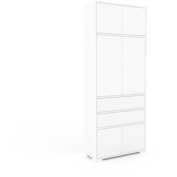 Aktenschrank Weiß - Büroschrank: Schubladen in Weiß & Türen in Weiß - Hochwertige Materialien - 77 x 196 x 35 cm, Modular