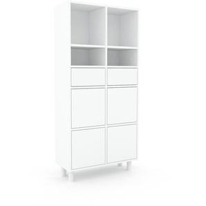 Aktenschrank Weiß - Büroschrank: Schubladen in Weiß & Türen in Weiß - Hochwertige Materialien - 79 x 168 x 35 cm, Modular