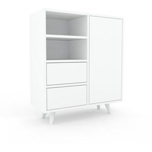 Aktenschrank Weiß - Büroschrank: Schubladen in Weiß & Türen in Weiß - Hochwertige Materialien - 79 x 91 x 35 cm, Modular