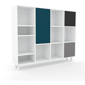 Aktenschrank Weiß - Flexibler Büroschrank: Türen in Blau - Hochwertige Materialien - 156 x 130 x 35 cm, Modular