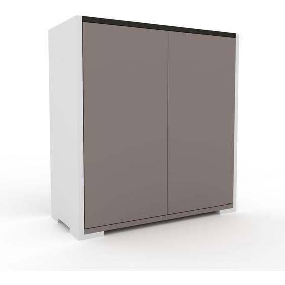 Aktenschrank Weiß - Flexibler Büroschrank: Türen in Grau - Hochwertige Materialien - 77 x 81 x 35 cm, Modular