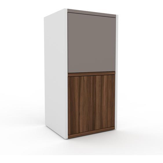 Aktenschrank Weiß - Flexibler Büroschrank: Türen in Nussbaum - Hochwertige Materialien - 41 x 80 x 35 cm, Modular