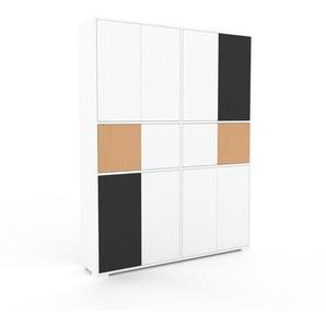 Aktenschrank Weiß - Flexibler Büroschrank: Türen in Weiß - Hochwertige Materialien - 152 x 196 x 35 cm, Modular