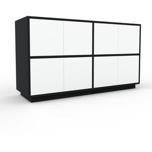 Aktenschrank Weiß - Flexibler Büroschrank: Türen in Weiß - Hochwertige Materialien - 152 x 85 x 47 cm, Modular