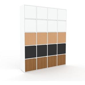 Aktenschrank Weiß - Flexibler Büroschrank: Türen in Weiß - Hochwertige Materialien - 156 x 195 x 35 cm, Modular