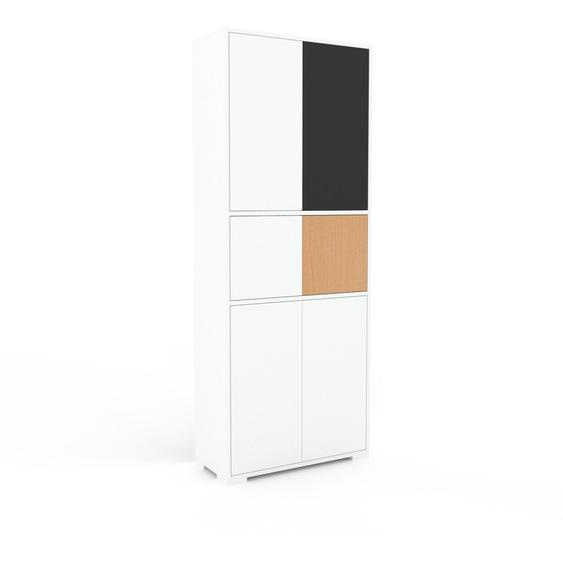 Aktenschrank Weiß - Flexibler Büroschrank: Türen in Weiß - Hochwertige Materialien - 77 x 196 x 35 cm, Modular