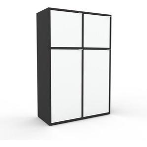 Aktenschrank Anthrazit - Flexibler Büroschrank: Türen in Weiß - Hochwertige Materialien - 79 x 118 x 35 cm, Modular