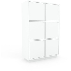 Aktenschrank Weiß - Flexibler Büroschrank: Türen in Weiß - Hochwertige Materialien - 79 x 124 x 35 cm, Modular