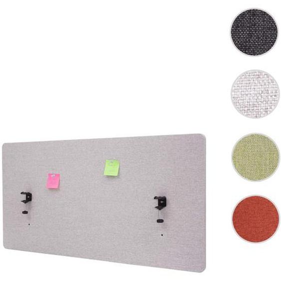 Akustik-Tischtrennwand HWC-G75, B�ro-Sichtschutz Schreibtisch Pinnwand, doppelwandig Stoff/Textil ~ 120x60cm grau