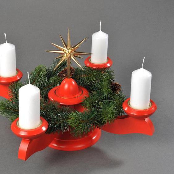 Albin Preissler Adventsleuchter Weihnachtsstern, Ø 29 cm, rot, inkl. Tannenkranz 29x29x26 cm rot Kerzenhalter Kerzen Laternen Wohnaccessoires