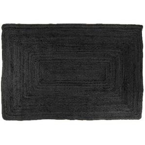 Alex - Jute Teppich, schwarz, 135 x 65