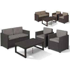 Allibert Lounge Set »Victoria«/ »Lyon Premium«, 4-teilig, mit Auflagen, in Rattanoptik