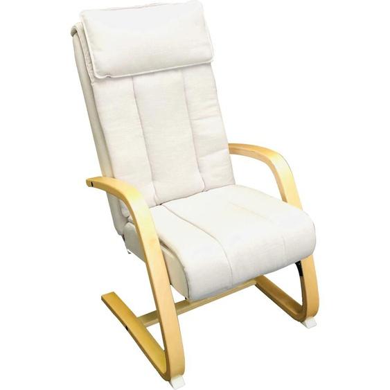 Alpha Techno Massagesessel AT 233, Shiatsu, Partiell und Roll-Massage, 3 Massagezonen individuell auwählbar Strukturstoff, Massagefunktion-Gleitsystem-Relaxfunktion-Rückteilverstellung beige Sessel