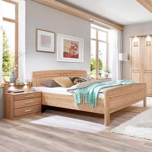 Altersgerechtes Bett aus Eiche teilmassiv LED Beleuchtung (dreiteilig)