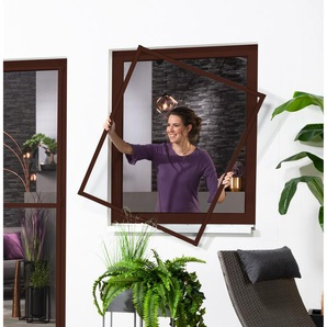 Fliegengitter, Alu-Fenster-Bausatz Master Slim, braun, 130 x 150 cm