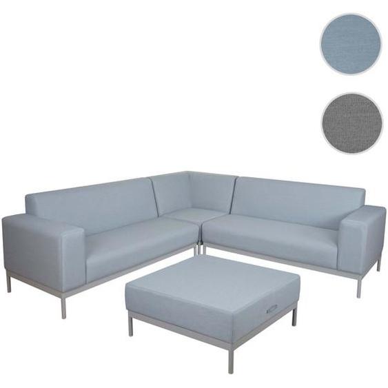 Alu-Garten-Garnitur HWC-C47, Sofa, Outdoor Stoff/Textil ~ blau ohne Ablage, ohne Kissen