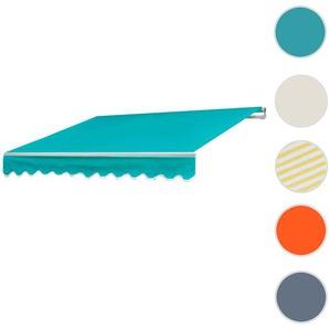 Alu-Markise HWC-E49, Gelenkarmmarkise Sonnenschutz 2,5x2m ~ Polyester Trkis