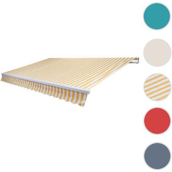 Alu-Markise T792, Gelenkarmmarkise Sonnenschutz 5x3m ~ Polyester Gelb/Wei�