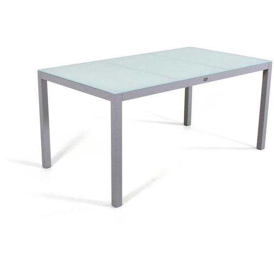 Aluminium Gartenmöbel Esstisch in Seidengrau - Esstisch Milchglas 160 cm
