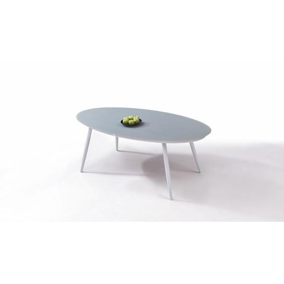 Aluminium Gartenmöbel Esstisch in Weiß - Esstisch Milchglas 200 cm, oval
