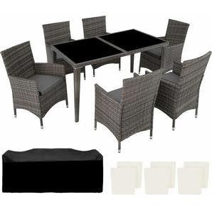 Aluminium Rattan Sitzgruppe 6+1 grau - TECTAKE