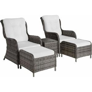 Aluminium Rattan Sitzgruppe Benissa - Gartenlounge, Terrassenmöbel, Rattan Lounge - grau - TECTAKE