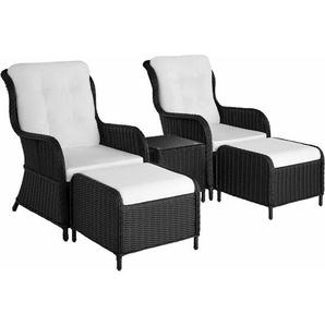 Aluminium Rattan Sitzgruppe Benissa - Gartenlounge, Terrassenmöbel, Rattan Lounge - schwarz - TECTAKE