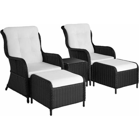 Aluminium Rattan Sitzgruppe Benissa - Gartenlounge, Terrassenmöbel, Rattan Lounge - schwarz
