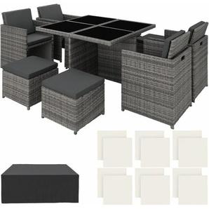 Aluminium Rattan Sitzgruppe Manhattan mit Schutzhülle - Gartenlounge, Terrassenmöbel, Rattan Lounge - grau - TECTAKE
