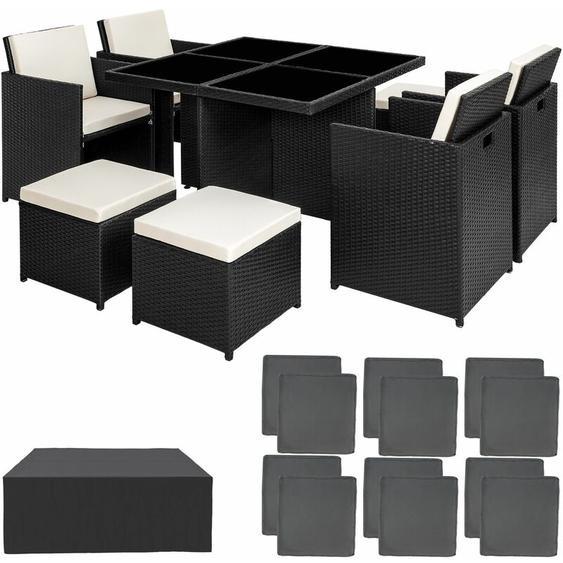 Aluminium Rattan Sitzgruppe Manhattan 4+4+1 mit Schutzhülle - Gartenlounge, Terrassenmöbel, Rattan Lounge - schwarz