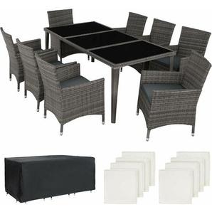 Aluminium Rattan Sitzgruppe Monaco 8+1 mit Schutzhülle - Gartenlounge, Terrassenmöbel, Rattan Lounge - grau - TECTAKE