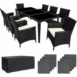 Aluminium Rattan Sitzgruppe Monaco 8+1 mit Schutzhülle - Gartenlounge, Terrassenmöbel, Rattan Lounge - schwarz - TECTAKE