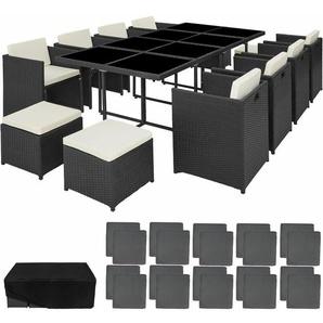 Rattan Sitzgruppe New Orleans - Gartenlounge, Terrassenmöbel, Rattan Lounge - schwarz - TECTAKE