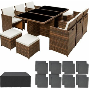 Aluminium Rattan Sitzgruppe New York 6+4+1 mit Schutzhülle - Gartenlounge, Terrassenmöbel, Rattan Lounge - braun - TECTAKE