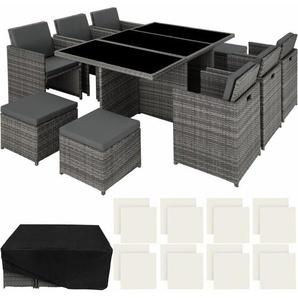 Aluminium Rattan Sitzgruppe New York 6+4+1 mit Schutzhülle - Gartenlounge, Terrassenmöbel, Rattan Lounge - grau - TECTAKE
