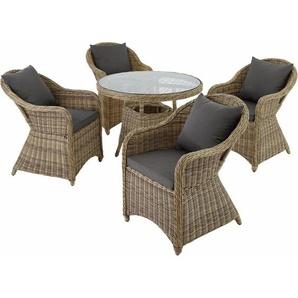 Aluminium Rattan Sitzgruppe Zürich 4+1 - Gartenlounge, Terrassenmöbel, Rattan Lounge - natur - TECTAKE