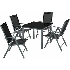 Aluminium Sitzgruppe 4+1 - Gartentisch, Gartenstuhl, Sitzbank - dunkelgrau - TECTAKE