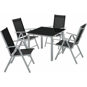 Aluminium Sitzgruppe 4+1 - Gartentisch, Gartenstuhl, Sitzbank - hellgrau - TECTAKE