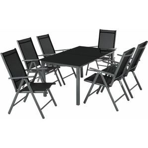Aluminium Sitzgruppe 6+1 dunkelgrau - TECTAKE
