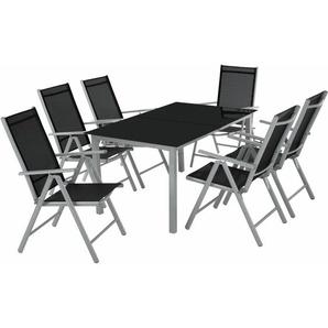Aluminium Sitzgruppe 6+1 - Gartentisch, Gartenstuhl, Sitzbank - hellgrau - TECTAKE