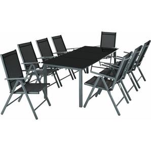 Aluminium Sitzgruppe 8+1 - Gartentisch, Gartenstuhl, Sitzbank - dunkelgrau - TECTAKE